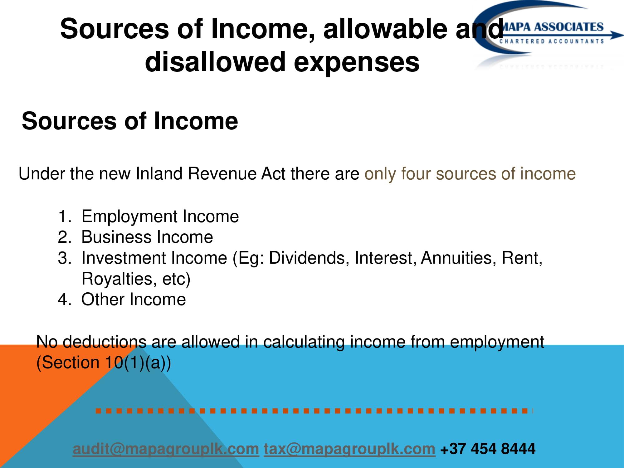 Sri Lanka New inland Revenue Act 2018 | MAPA ASSOCIATES